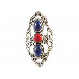 Stříbrný prsten s lapis lazuli a mořským korálem