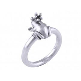 Stříbrný autorský prsten žabka