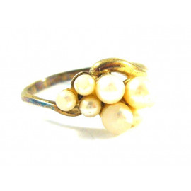 Stříbrný pozlacený prsten s mořskými perlami