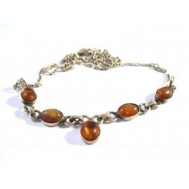 Starožitný stříbrný náhrdelník s jantary