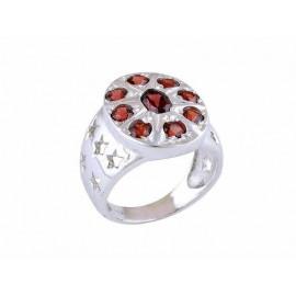 Stříbrný prsten s granáty