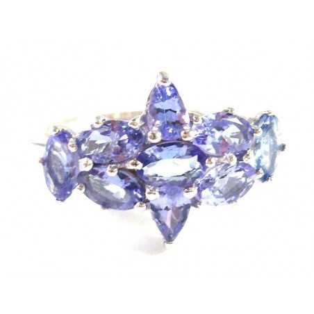 Stříbrný prsten s tanzanity